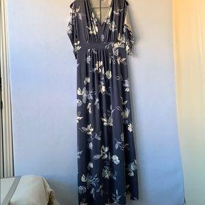 Gray-Blue Floral Maternity Dress